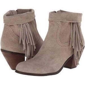 Sam Edelman Louie Fringe Trimmed Ankle Boots 8.5
